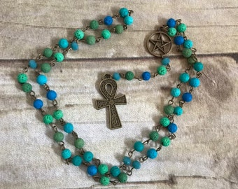 Blue and green lava rock ankh pagan rosary, pagan prayer beads, occult rosary, egyptian paganism, wiccan rosary, ankh jewelry