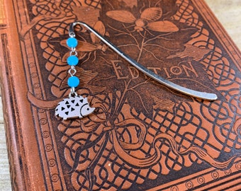 Bright blue hedgehog bookmark, animal bookmark, nature bookmark, pet bookmark, hedgie bookmark, wildlife bookmark, beaded bookmark