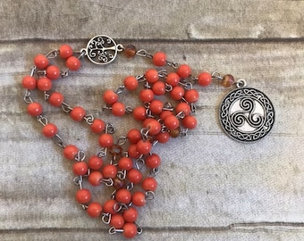 Orange glass triskelion pagan rosary, celtic paganism, pagan prayer beads, wiccan prayer beads, celtic witch jewelry, wiccan rosary