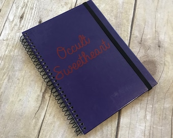 Occult sweetheart journal, pagan stationary, wiccan notebook, banded notebook, occult journal