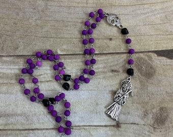 Purple lava rock santa muerte rosary, santisima muerte rosary, nuestra senora de la Santa muerte, holy death rosary, sacred seath rosary