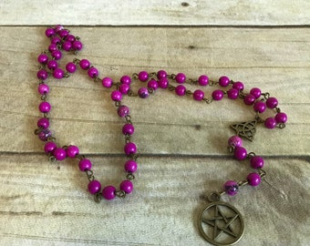 Purple and brass pentacle rosary, pagan prayer beads, wiccan rosary, occult gift, pagan rosary, pentacle jewelry