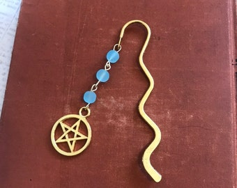 Blue sea glass pagan bookmark, pentacle bookmark, gold pagan bookmark, occult bookmark, wiccan bookmark, witch bookmark