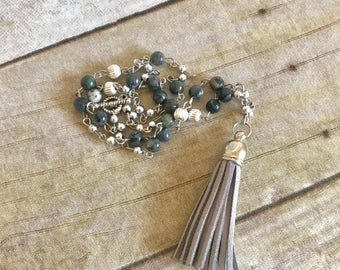 Light grey and green tassel necklace, boho jewelry, handmade necklace, one of a kind jewelry, birthday gift