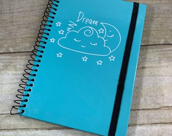 Blue and white moon dream journal, dream log, dream notebook, dream diary, pagan notebook, wiccan notebook, witch journal