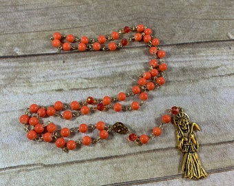 Orange gold tone Santa muerte rosary, santisima muerte, nuestra senora de la Santa Muerte, holy death rosary, sacred death, saintly death