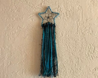 Teal black and white star dreamcatcher, gothic dream catcher, occult dreamcatcher, wiccan dreamcatcher, celestial dreamcatcher