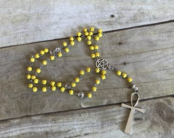 Yellow howlite sun and moon pagan rosary, ankh pagan rosary, egyptian inspired, wiccan jewelry, occult gift