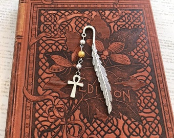 Gold and silver ankh bookmark, egyptian paganism, occult bookmark, pagan bookmark, metal bookmark, wiccan bookmark