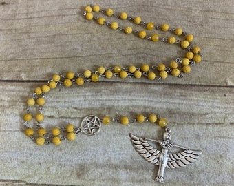 Yellow lava rock isis rosary, isis prayer beads, wiccan rosary, occult rosary, Egyptian paganism, pagan prayer beads, wiccan prayer beads
