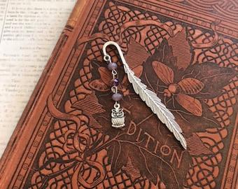 Purple glass owl feather bookmark, familiar bookmark, book of shadows bookmark, owl gift, bird bookmark
