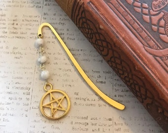 Gold and white howlite pagan bookmark, occult bookmark, pentacle bookmark, wiccan bookmark, witchcraft bookmark, stone bookmark