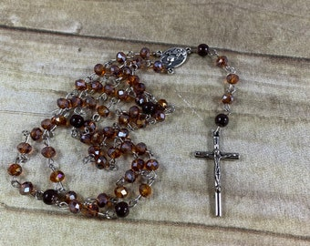 Brown sparkle catholic rosary, glass rosary, baptism gift, first communion gift, confirmation gift, modern rosary, neutral rosary