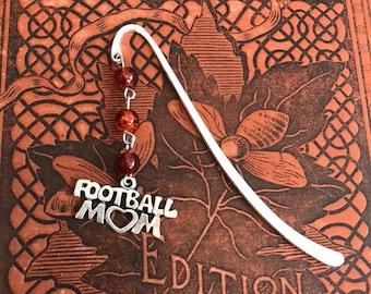 Orange brown football mom bookmark, sports mom bookmark, handmade bookmark, stocking stuffer