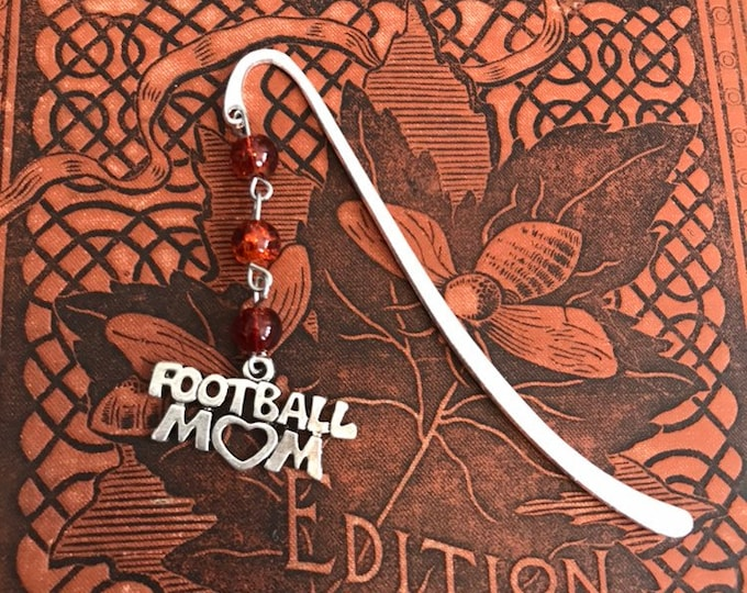 Featured listing image: Orange brown football mom bookmark, sports mom bookmark, handmade bookmark, stocking stuffer