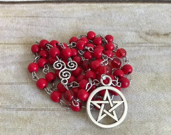 Simple red howlite pagan rosary, pentacle jewelry, wiccan necklace, occult gift, handmade, one of a kind, witch gift