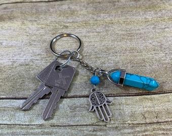 Blue howlite hamsa keychain, hand of Fatima keychain, hand of Miriam keychain, crystal keychain, essential oil keychain, diffuser keychain