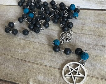 Black and blue pagan pentacle rosary, oil defuser jewelry, lava bead, wiccan jewelry
