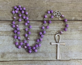 Purple frosted agate ankh rosary, pagan prayer beads, wiccan prayer beads, Egyptian paganism, ankh prayer beads, pagan rosary