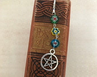 Flower pentacle bookmark, pagan book hook, wiccan bookmark, pentacle book hook, occult bookmark, metal bookmark, beaded bookmark