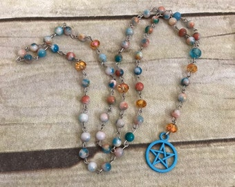 Blue and orange mountain jade pagan rosary, blue pentacle, pagan prayer beads, wiccan jewelry, occult necklace, wiccan rosary