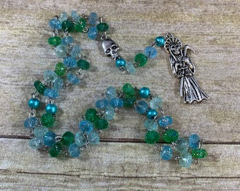 Blue and green resin Santa Muerte rosary, santisima muerte rosary, nuestra senora de la Santa muerte rosary, holy death rosary, sacred death