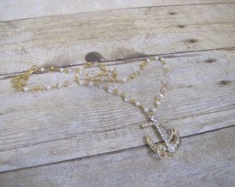 Pearl Gold Bling Anchor, elegant nautical necklace, anchor necklace, faux pearl necklace