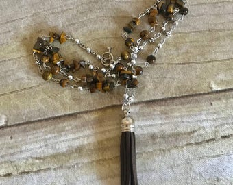 Tiger eye tassel necklace, boho jewelry, tassel jewelry, birthday gift, for her, handmade, one of a kind