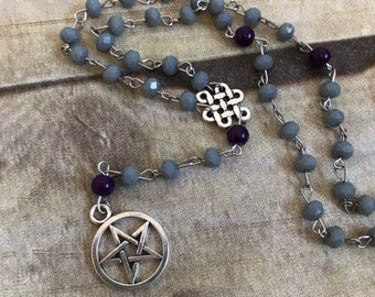 Grey and purple celtic pagan prayer beads, wiccan rosary, pentacle prayer beads, occult necklace, wiccan jewelry, wiccan prayer beads