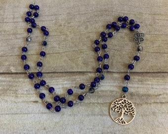 Blue purple tree of life pagan rosary, pagan prayer beads, wiccan rosary, tree of life jewelry, witch prayer beads, wiccan rosary