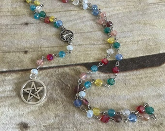 Rainbow sparkle pentacle rosary, wiccan necklace, pagan prayer beads, occult gift, pentacle jewelry, handmade, one of a kind
