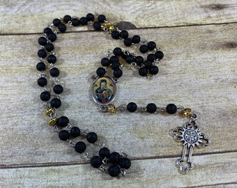 Our lady of perpetual help rosary, our lady of perpetual succor rosary, lava rock rosary, catholic rosary, unique rosary, baptism gift