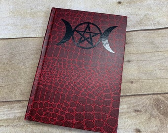 Red and black triple moon journal, triple goddess journal, wiccan journal, pagan journal, occult journal, witch journal, witch notebook