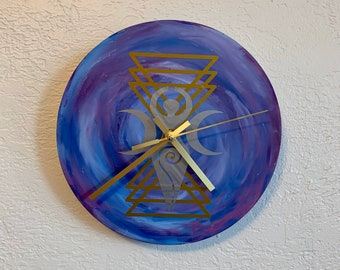 Metallic space goddess geometric clock, spiral goddess clock, pagan clock, wiccan clock, occult clock, witch clock, pagan decor, witch decor