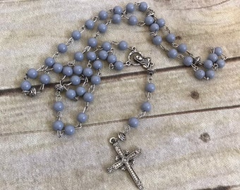 Grey catholic rosary, gender neutral rosary, baptism gift, religious jewelry