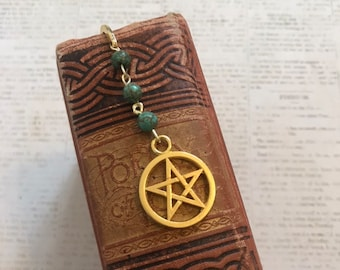 Green stone and golden pentacle bookmark, occult bookmark, wiccan bookmark, pagan bookmark, witchcraft bookmark