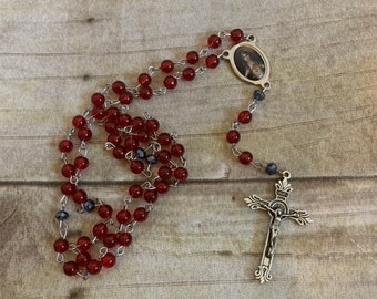 Immaculate heart of mary rosary, Virgin Mary rosary, handmade rosary, glass pearl rosary, baptism gift, confirmation gift, first communion