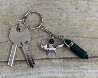 Dark green crystal fox keychain, vulpine keychain, fox gift, essential oil keychain, essential oil diffuser keychain, diffuser gift