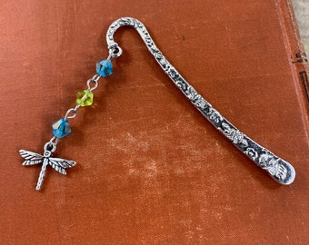 Blue and green dragonfly bookmark, dragonfly gift, metal bookmark, bug bookmark, garden bookmark, insect bookmark, beaded bookmark