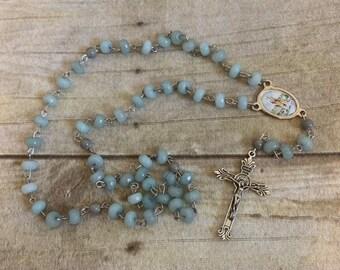 Pale blue saint lazarus rosary, lazarus of the four days dead rosary, lazarus of bethany rosary, forst communion gift, saint rosary