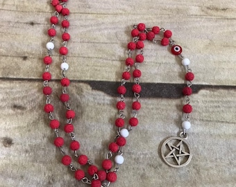 Red pink lava rock oil diffuser pagan prayer beads, pentacle jewelry, wiccan rosary, essential oil jewelry, occult necklace