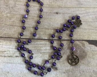 Purple glass faux pearl pagan rosary, pentacle prayer beads, wiccan jewelry, occult rosary, wiccan prayer beads, pagan prayer beads