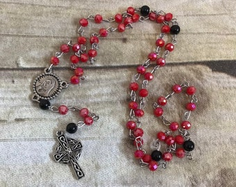 Red and black celtic cross rosary, glass rosary, bapitsm gift, first communion gift, religious jewelry, catholic rosary