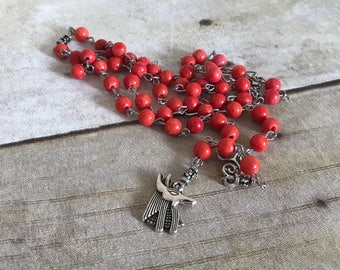 light red anubis rosary, pagan rosary, wiccan jewelry, egyptian inspired