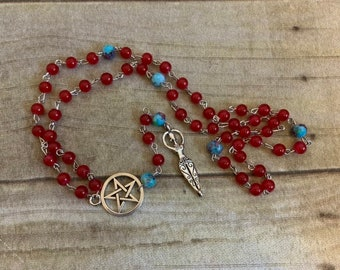 Red and blue goddess rosary, pagan prayer beads, occult prayer beads, goddess jewelry, pagan rosary, wiccan rosary, wiccan prayer beads