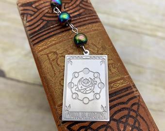 Rainbow wheel of fortune tarot card bookmark, tarot bookmark, occult bookmark, witch bookmark, pagan bookmark, esoteric bookmark,