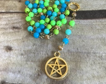 Bright cool toned pagan rosary, pentacle jewelry, wiccan necklace, occult gift, one of a kind, handmade, pagan jewelry
