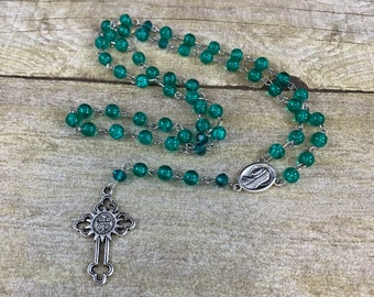 Green crackle glass rosary, unique rosary, holy rosary, catholic rosary, baptism gift, first communion gift, confirmation gift, one of a