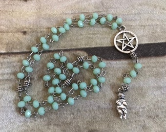 Mint green venus of willendorf pagan rosary, pagan prayer beads, goddess jewelry, wiccan necklace, occult rosary, wiccan rosary