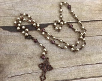 Ivory and brown copper rosary, catholic rosary, catholic jewelry, baptism gift, first communion, religious jewelry, confirmation gift